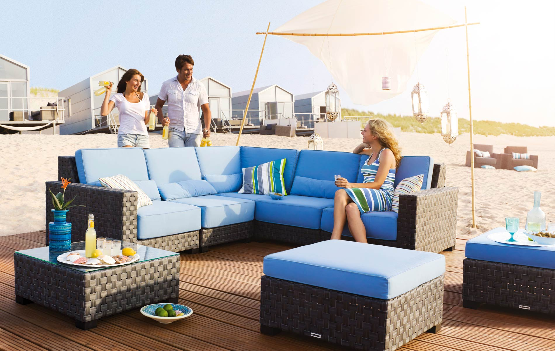 Luxus Rattan Gartenmobel : Kettler Beach Lounge Gartenmöbel Set