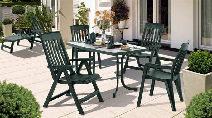 kunststoff anthrazit Plastic rattan dinning garden set furniture