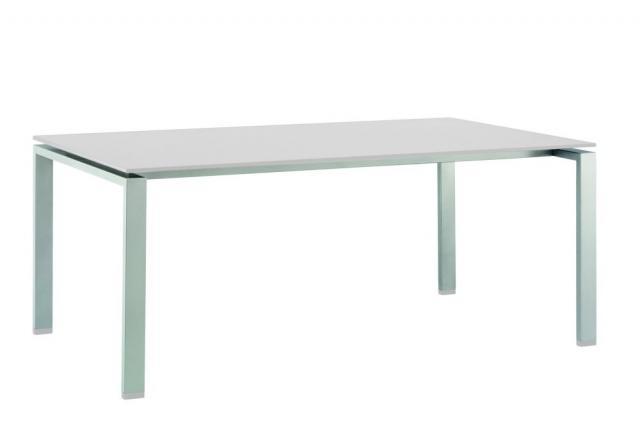 Float HPL Diningtisch 220x100cm silber/weiß ohne Dekor #1