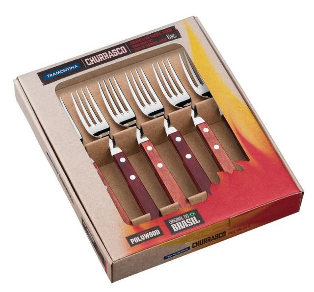Churrasco Steakgabel Jumbo Set 6tlg. rot #1