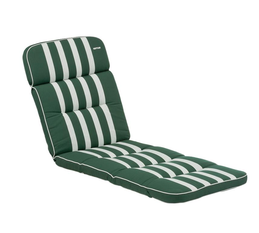 Kettler Auflagen Dessin 522, Streifen waldgrün-silber grau, RS uni ...