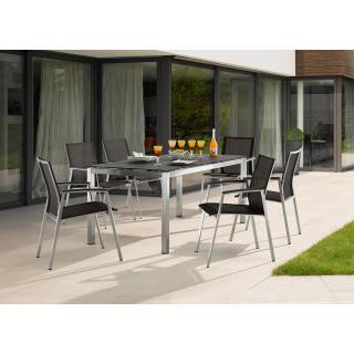 4 x Porto Stapelsessel 1 Tisch 160x90 cm Edelstahl