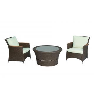 Oldham 2 Lounge-Sessel + 1 Lounge-Tisch, honig