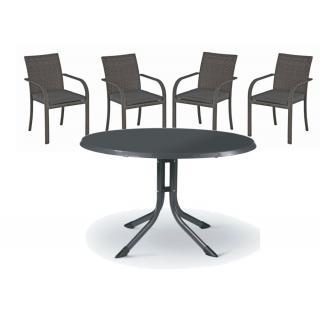 Kettler Bistro Gruppe, 4 Sessel anthrazit plus Tisch