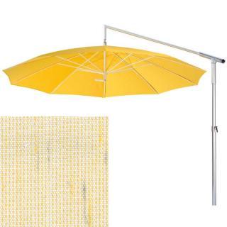 May Ampelschirm Dacapo weiss/gelb/grau genoppt bis 350 cm Ø mit Kurbel