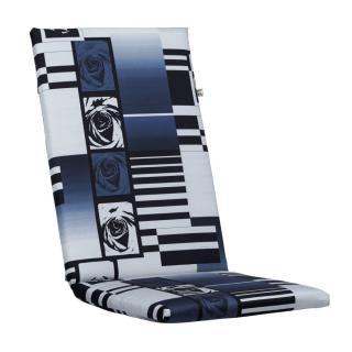 Kettler Auflagen Dessin 870, blau-hellgrau mit fleuralem Design