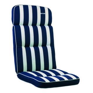 Kettler Auflagen Dessin 521, Streifen dunkelblau -silbergrau, RS uni dunkelblau