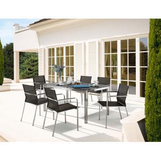 4 x Granada Stapelsessel + 1 Tisch Edelstahl