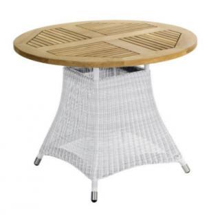 Zebra Loomus Tisch 100 cm rund Teak, Geflecht weiss