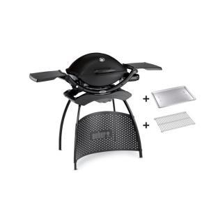 Weber Q 2200 Stand Gasgrill Black + Hitzeschild u.Bratenrost