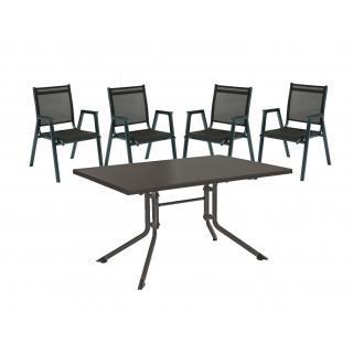 Kettler Scirocco Stapelsessel Gruppe mit Tisch anthrazit