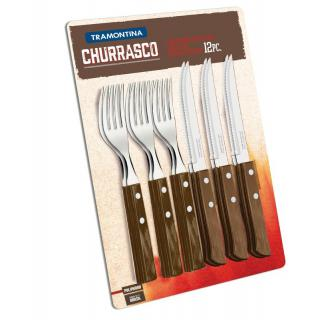Churrasco Steak-/Pizzabesteck-Set 12tlg. braun