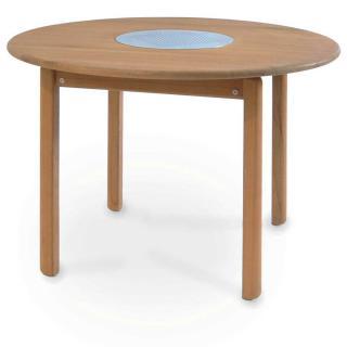 Fischer Tennis Tisch 95 cm Teak/Edelstahleinsatz
