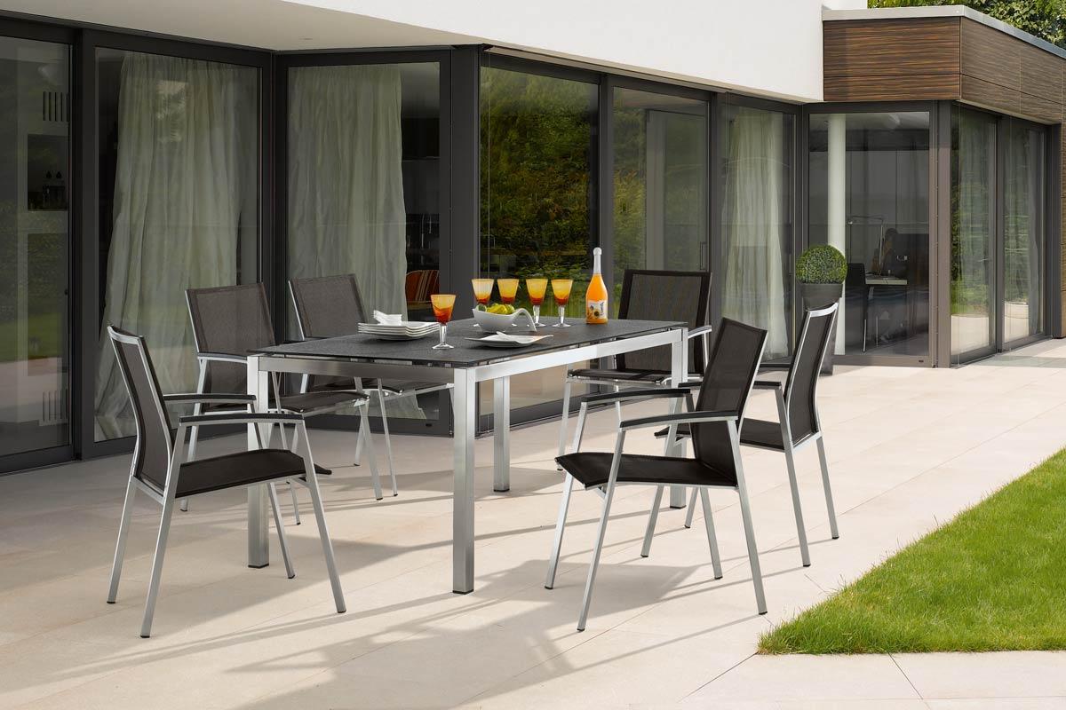 4 x Porto Stapelsessel 1 Tisch 160x90 cm Edelstahl - Peter Süße
